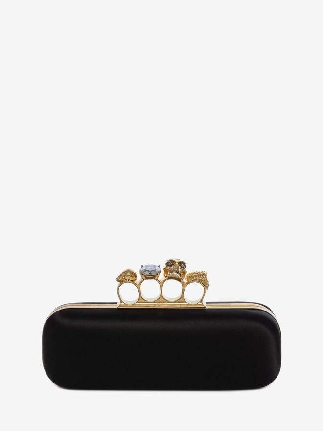 Alexander McQueen Satin Knuckle Box Clutch