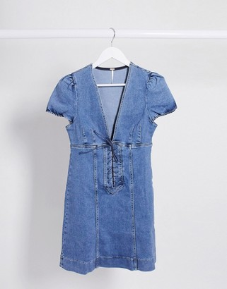Free People Something Sweet Mini Dress in blue