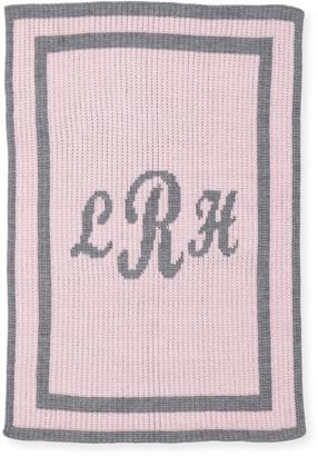 Butterscotch Blankees Monogram Knit Striped-Trim Baby Blanket, Pink