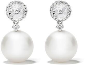 Kiki McDonough 18kt white gold Pearls white topaz and diamond pearl drop earrings