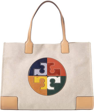 Tory Burch Ella Colorblocked Canvas & Leather Tote
