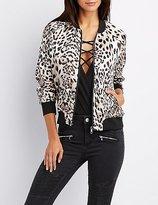 Charlotte Russe Satin Leopard Bomber Jacket