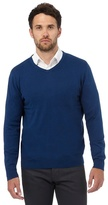 Jeff Banks Big And Tall Blue V Neck Jumper With Silk And Cashmere