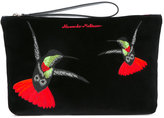 Alexander McQueen hummingbird embroidered clutch - men - Cotton - One Size