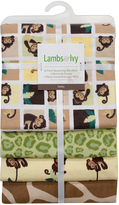 Lambs & Ivy 30'' x 30'' Tickles Four-Piece Flannel Blanket - Set of Four