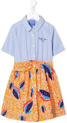 Stella Jean Kids contrast-panel striped shirt dress