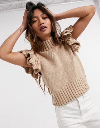 Y.A.S high neck knitted vest with ruffle sleeve in camel