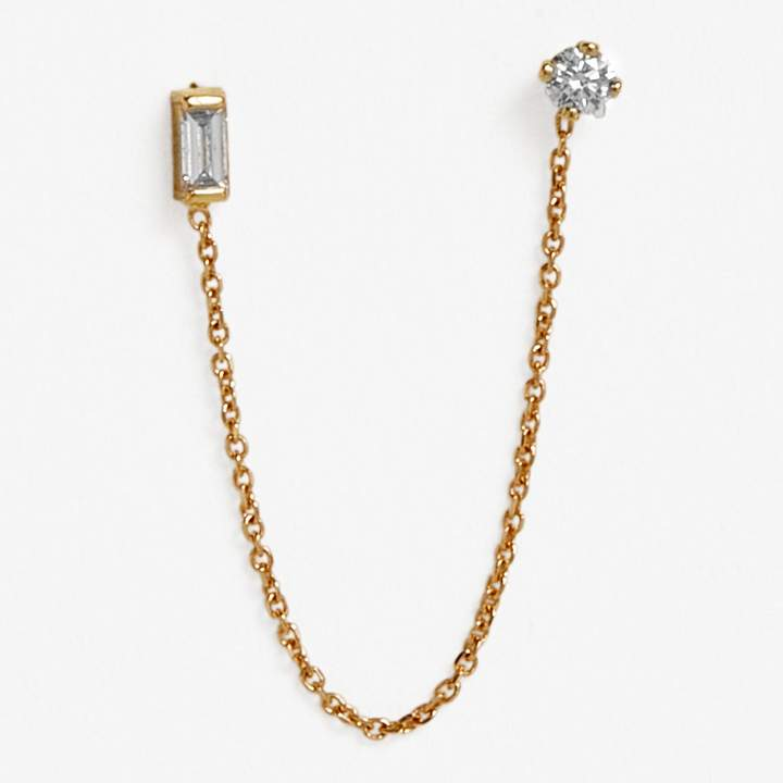 Sweet Pea Gold & Diamond Single Stud Chain Earring