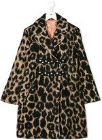 No21 Kids leopard printed coat