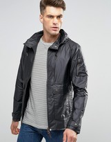 Pretty Green Jacket With Hood Showerproof In Slim Fit Black