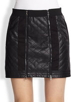 BCBGMAXAZRIA Quilted Faux Leather Moto Skirt