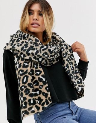 ASOS DESIGN leopard print long scarf