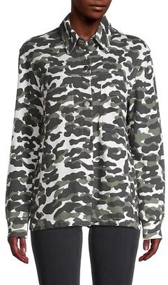 Monrow Camo-Print Spread Collar Jacket