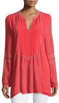Tolani Lani Long-Sleeve Tunic w/ Contrast Embroidery, Plus Size
