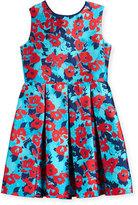 Oscar de la Renta Floral Mikado Dress, Blue, Size 2-14