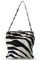 Dolce & Gabbana Black Ivory Zebra Print Silver Accent Shoulder Handbag