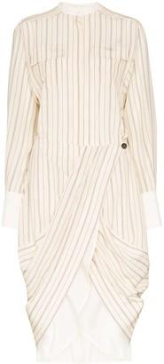 Chloé pinstriped button detail wrap dress