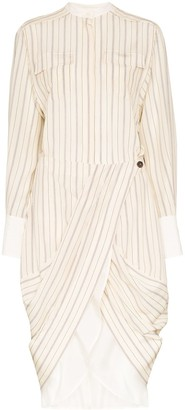 Chloé Pinstriped Button Detail Wrap Dress