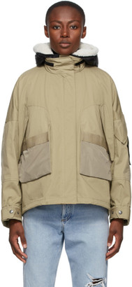 Yves Salomon Army Beige and Black Down Shearling Bachette Jacket