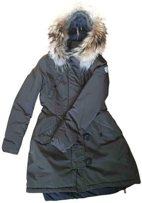 Moncler Fur Hood Green Cotton Coat for Women