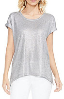 Vince Camuto Roll Sleeve Foil Knit Tee