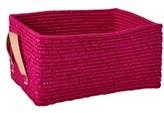 RICE A/S Rec. Raffia Basket w. Leather Handels Fuchsia