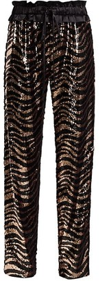 Adriana Iglesias Aila Tiger-Stripe Sequin Pants
