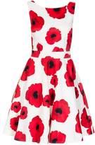 Quiz Cream Poppy Print Satin Dress