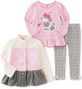 Kids Headquarters 3-Pc. Fleece Jacket, Tunic & Leggings Set, Toddler & Little Girls (2T-6X)