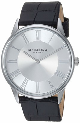 Kenneth Cole New York Men's Classic Stainless Steel Japanese-Quartz Watch with Leather Strap