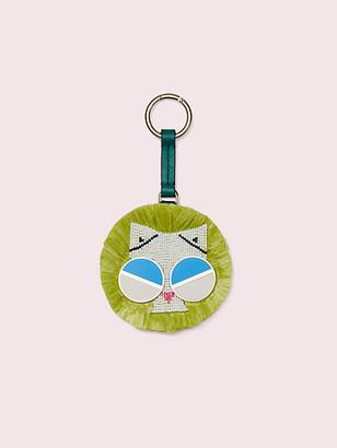 Kate Spade Spademals Raffia Smitten Kitten Dangle Keychain