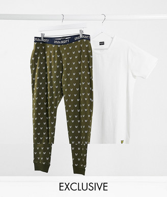 Lyle & Scott T-shirt and logo lounge pants set