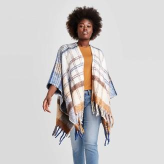 Universal Thread Women's Plaid Ruana Kimono Jacket - Universal ThreadTM