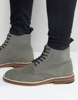 Asos Brogue Boot In Gray Suede