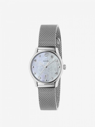 Gucci G-timeless Watch Case 27 Mm In Milanese Mesh With Mother-of-pearl Dial