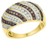 Women's 1 CT.T.W Round White/Brown Diamond Channel/Prong Set Fashion Ring in ...