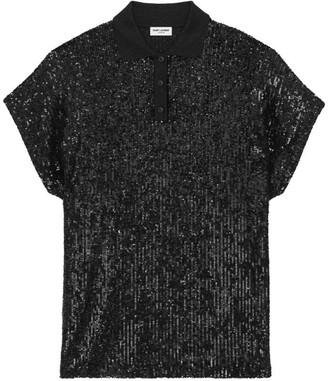 Saint Laurent Sequin Polo Shirt