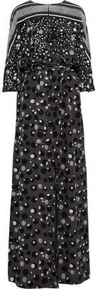 Bottega Veneta Sequin-embellished Printed Silk Crepe De Chine Maxi Dress