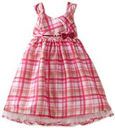Nannette Girls 4-6x Plaid Shangtung Dress With Sequin Sash And Bow