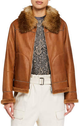 Brunello Cucinelli Fox-Fur Collared Shearling Lined Leather Moto Jacket