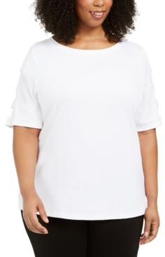 Karen Scott Plus Size Cut-Out-Sleeve Cotton Top, Created for Macy's
