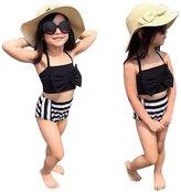 Tenworld Toddler Baby Girl's Bikini Bowknot Stripe 2 Pieces Swimwear Sets