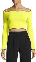 Cédric Charlier Cropped Long-Sleeve Wave-Hem Top, Yellow