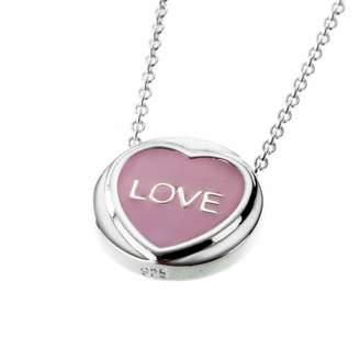 Love Hearts Sterling Silver & Pink Enamel Mini 'LOVE' Pendant