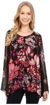 Adrianna Papell Shirred Shoulder Babydoll Printed Top