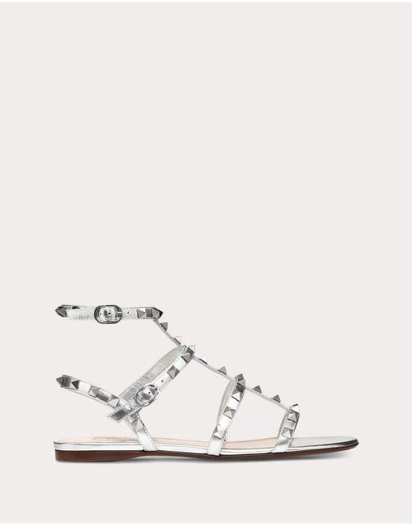Valentino Garavani Metallic Cage Rockstud Flat Sandal