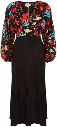 Traffic People Caution Long Sleeve Midi Dress In Black Floral Print