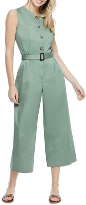 Gal Meets Glam Belted Cotton Jumpsuit