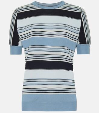 Loro Piana Tangery striped silk and cotton knit top