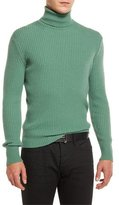 Tom Ford Ribbed Turtleneck Sweater, Green